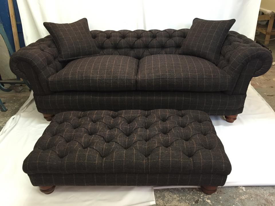 Harris Tweed Sofa With Footstool Aged To Perfection