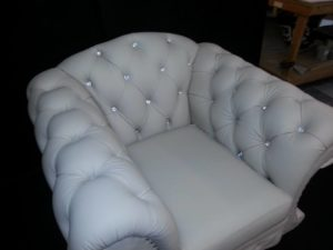 white leather chair with srystal insets 4