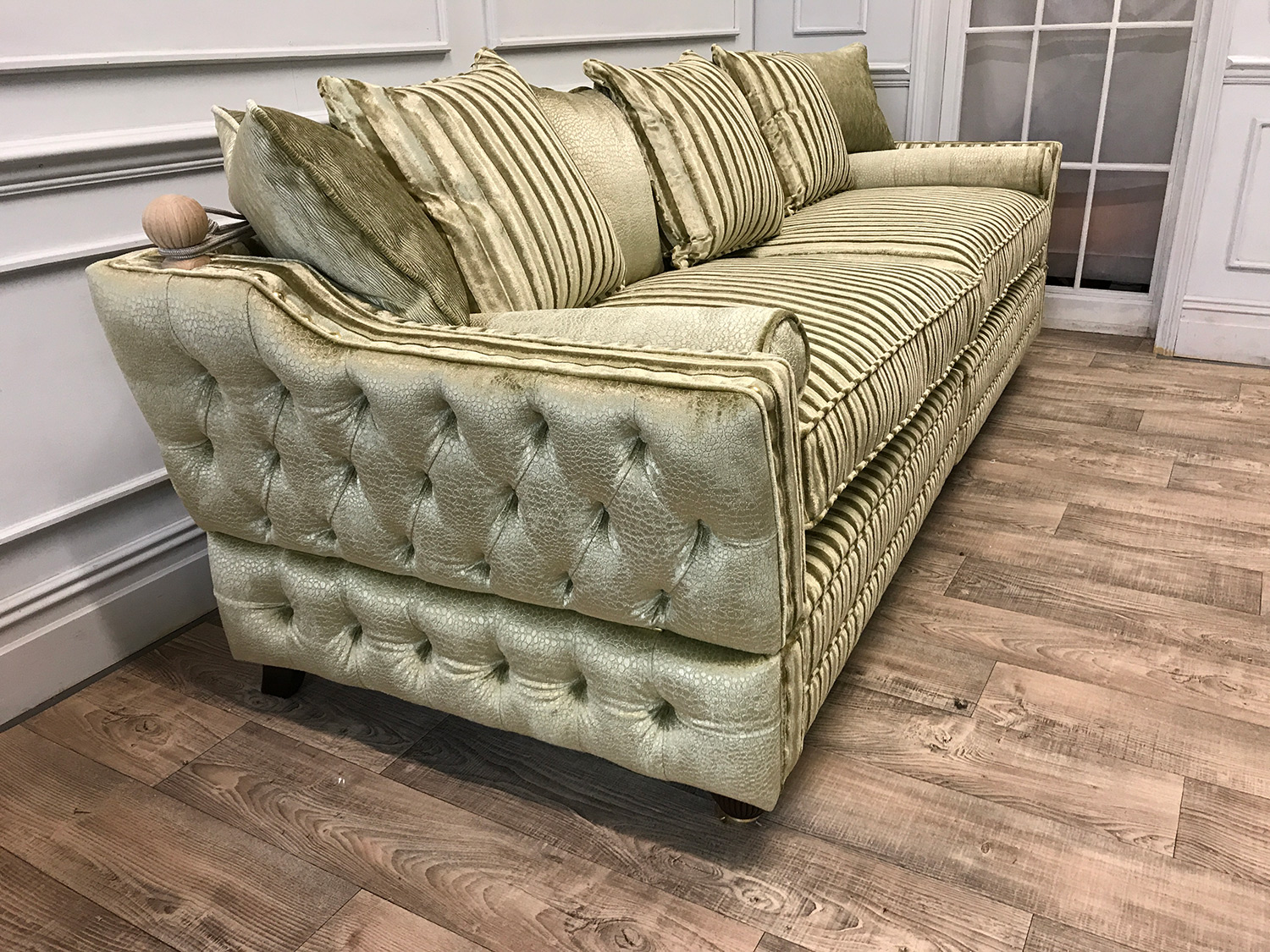 Bespoke Gold And Cream Sofa With Matching Chair Amp Footstool