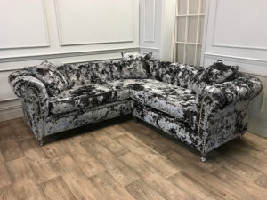 Crushed Velvet Liquer Corner Sofa 3