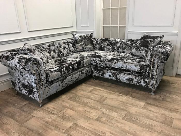 Crushed Velvet Liquer Corner Sofa 2
