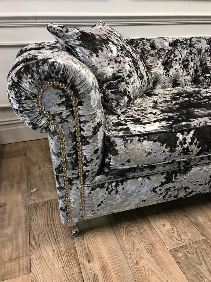 Crushed Velvet Liquer Corner Sofa 1