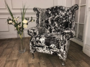 crushed velvet wing back chair 3