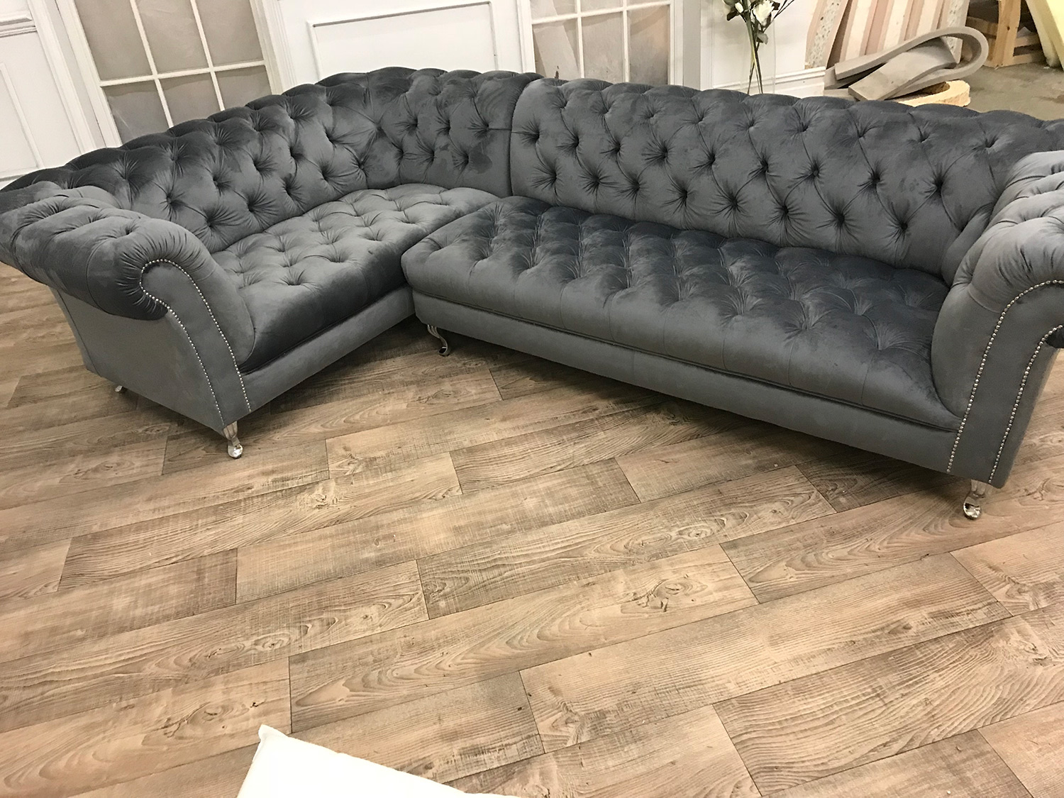 Black Velvet Chub Chesterfield Corner Sofa