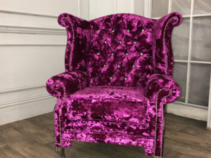 pink crushed velvet chair front 1