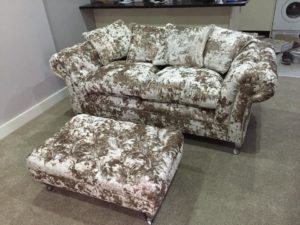 Crushed Velvet Opal 2 Seater Sofa With Footstool 2