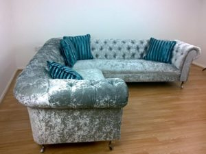 Crushed Velvet Chalk Corner Sofa 3