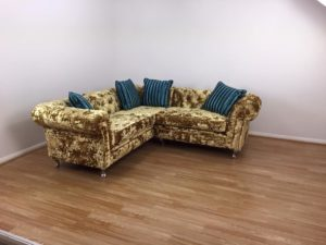 Crushed Velvet Gold Corner Sofa 3