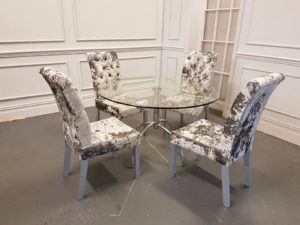 crushed velvet dining table set 1