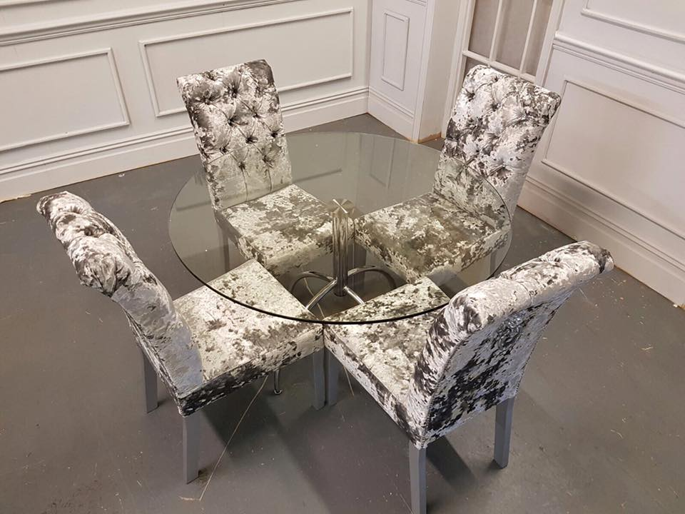 Crushed Velvet Dining Set With Glass Table Atpu