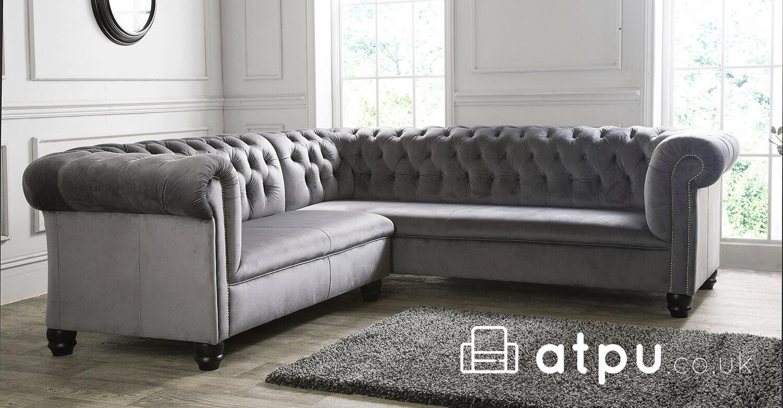 Grey Deep Seat Chesterfield Corner Sofa Atpu